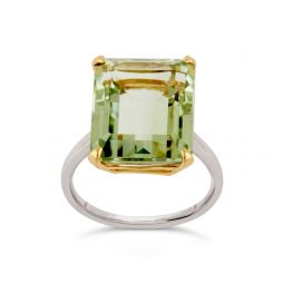 Amica silver and 10k yellow gold green amethyst ring