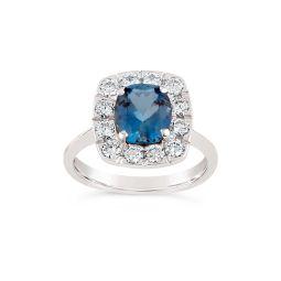 Jolanda 18k Gold Fine Aquamarine and Brilliant Cut Diamond Ring