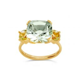 Dinny Hall Teresa 22k Yellow Gold Vermeil Green Amethyst and Oro Verde Ring