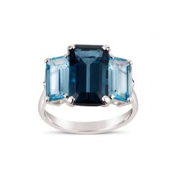 Statement Cocktail Ring in Silver with Blue Topaz