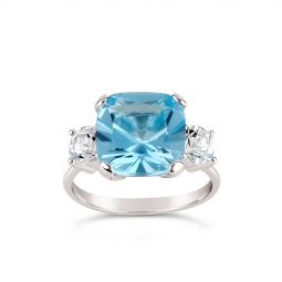 Teresa silver blue topaz and white topaz ring