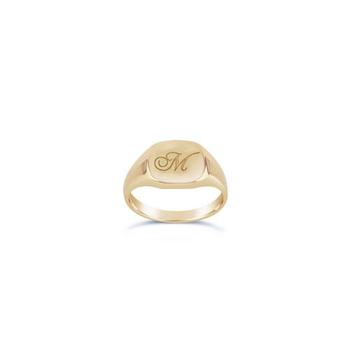 Cushion 10 Karat Gold Engraved Signet Pinky Ring