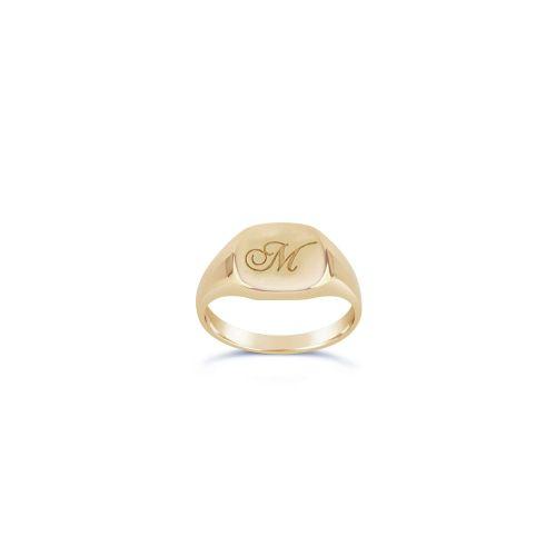Cushion 10 Karat Gold Engraved Signet Pinky Ring
