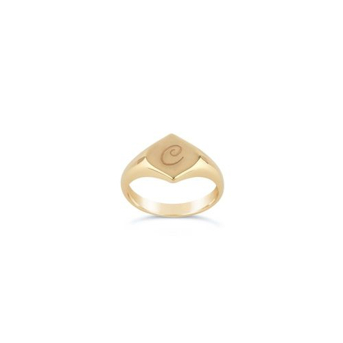 Lotus 10 Karat Gold Engraved Signet Pinky Ring
