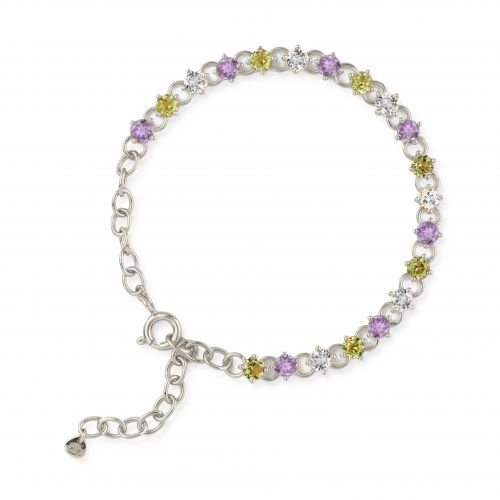 Dinny Hall Gem Drop Line Bracelet With Peridot, Amethyst and White Topaz