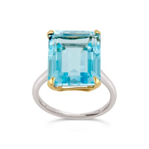 Amica Silver and 10k Yellow Gold Sky Blue Topaz Ring