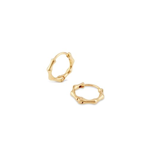 Bamboo 10k Gold Mini Hoops