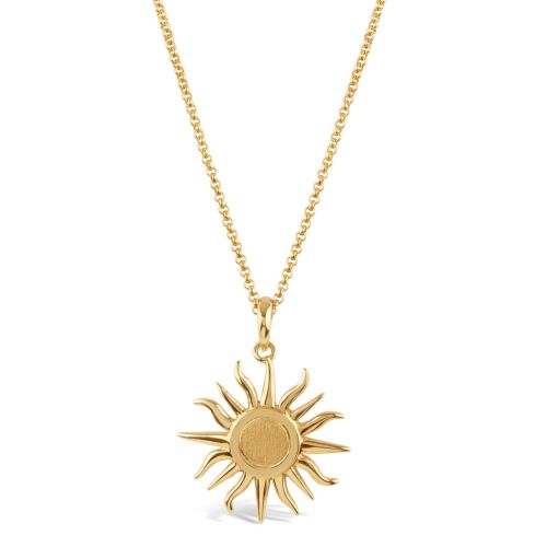 Sun Charm with Brushed Centre Pendant