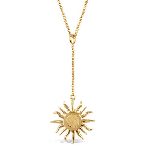 Sun Chain Charm with Brushed Centre Pendant