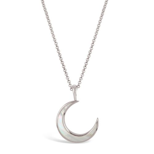 Moon Charm Pendant with Inlaid Mother of Pearl