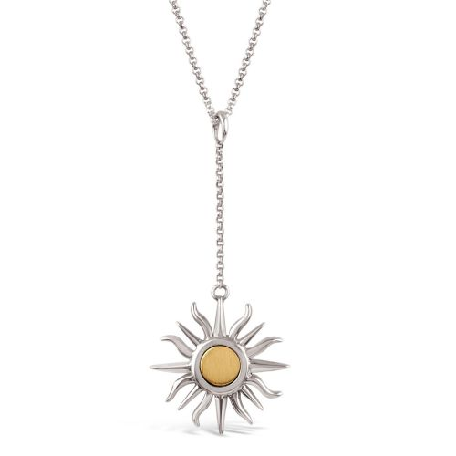 Sun Chain Charm with 9K Brushed Centre Pendant