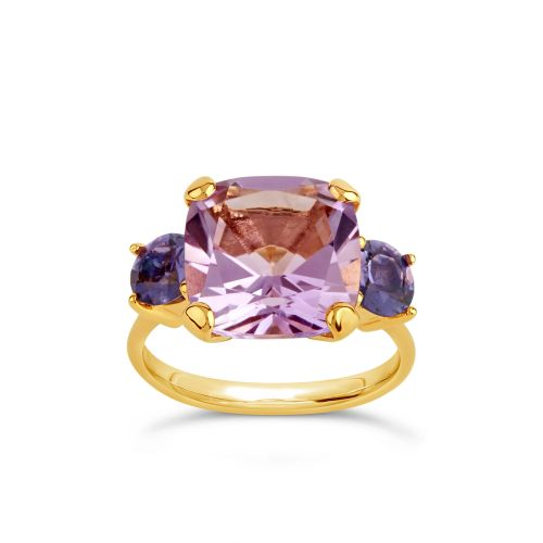 Dinny Hall Teresa 22k Yellow Gold Vermeil Amethyst and Iolite Ring