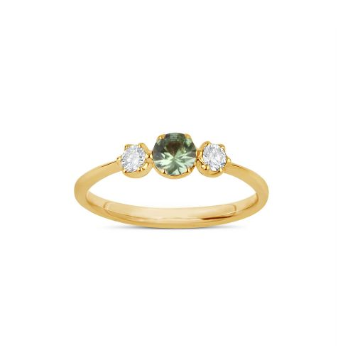 Elyhara 18K SMALL TRILOGY GREEN SAPPHIRE AND BRILLIANT CUT DIAMOND RING