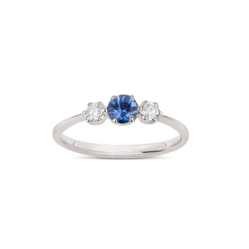 Elyhara 18K Gold Small Trilogy Blue Sapphire and Brilliant Cut Diamond Ring