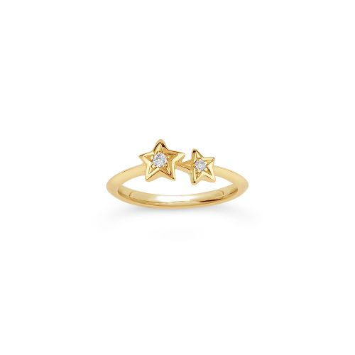 Bijou Solid 14k Gold Duo Star Diamond Pinky Ring