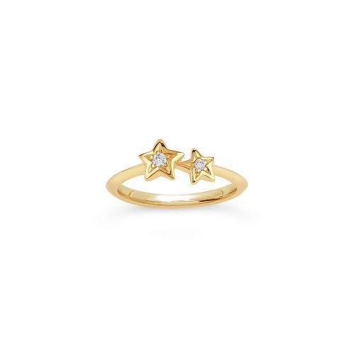 Bijou Solid 14k Gold Duo Star Diamond Pinky Ring