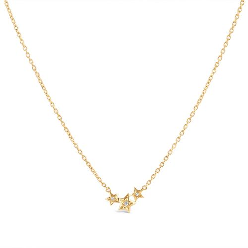 Bijou Solid 14k Gold Triple Star Diamond Pendant