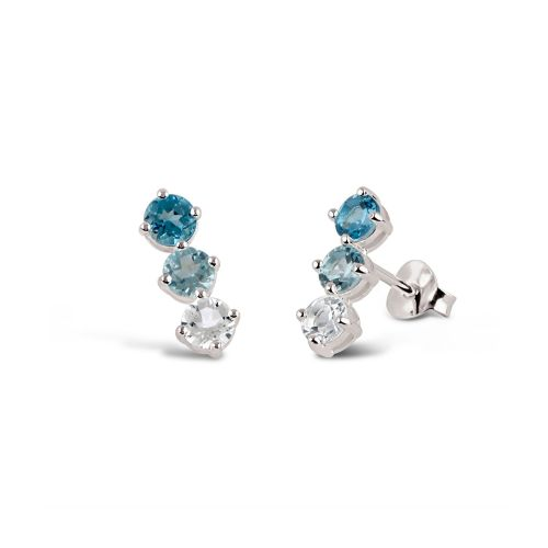 Bar Earrings Silver with Blue Topaz, and White Topaz