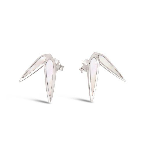 Sterling Silver pearl inlay stud earrings