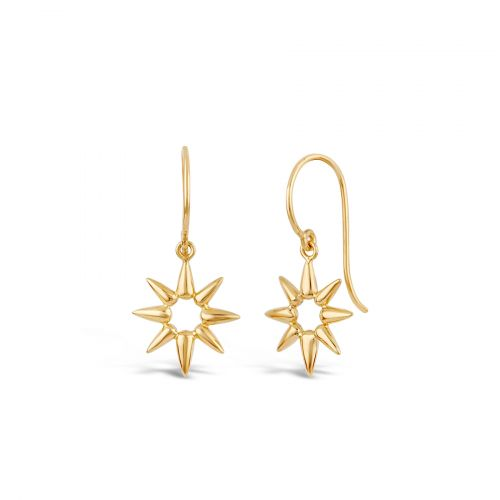 Gold Earring in shape of sun beam