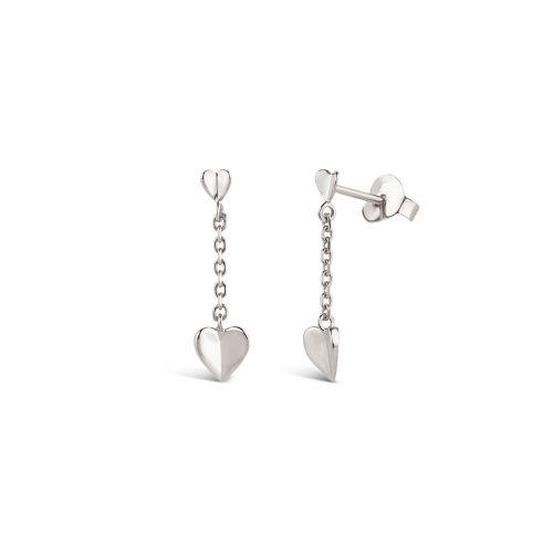 Bijou Folded Heart Short Chain Drop Earrings