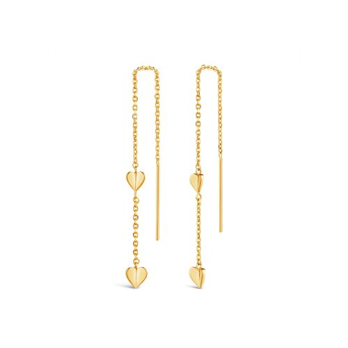 Bijou Folded Heart Chain Threaded Earrings