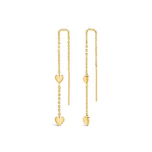 Bijou Folded Heart Chain Threaded Earrings