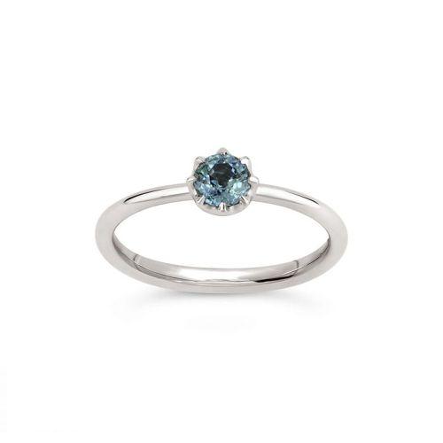 Ellie 18K Gold Solitaire Fine Blue Sapphire Ring