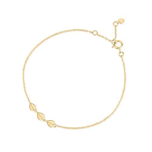 Bijou Solid 10k Gold Trio of Folded Hearts Bracelet