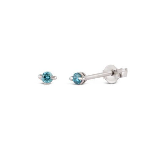 Small White Gold Studs With Blue Diamond