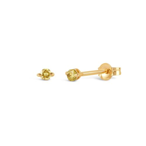 Yellow Gold Small Studs Set With Yellow Diamond