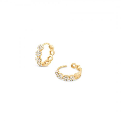 Dinny Hall 14k Gold Pavé Diamond Huggie Hoops
