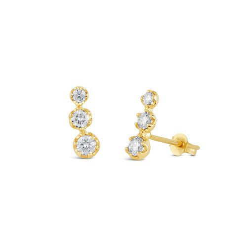 Elyhara 14k Gold Diamond Trio Studs