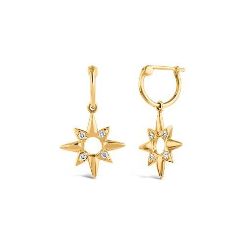 14k Gold Sunbeam Lady Clare Diamond Drop Hoop Earrings