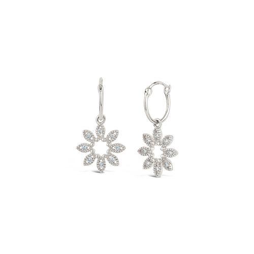 14k Diamond Jasmine Flower Hoop Drop Earrings