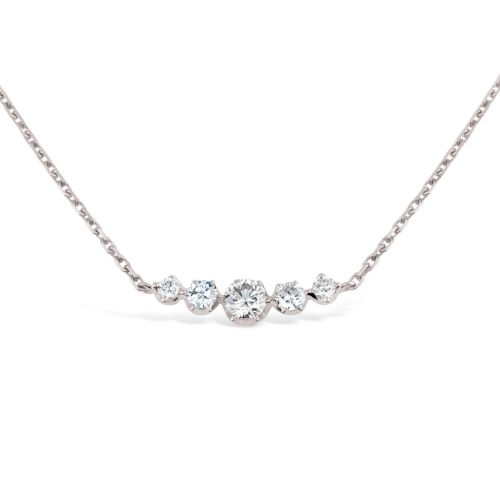 Elyhara 18k solid White Gold Five Stone Necklace