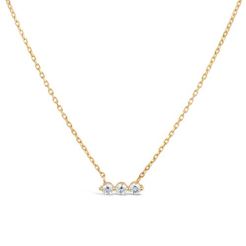 Dinny Hall Shuga 14k three stone Diamond Bar Necklace