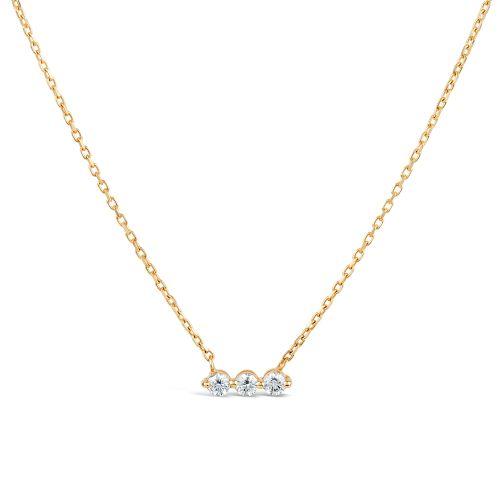 Dinny Hall Shuga 14k three stone Diamond Bar Necklace
