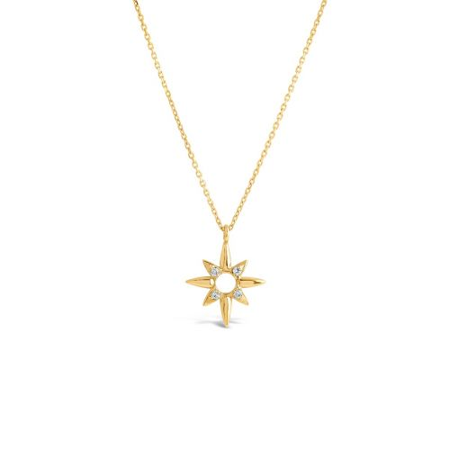 14k Gold Sunbeam Edith Small Diamond Pendant
