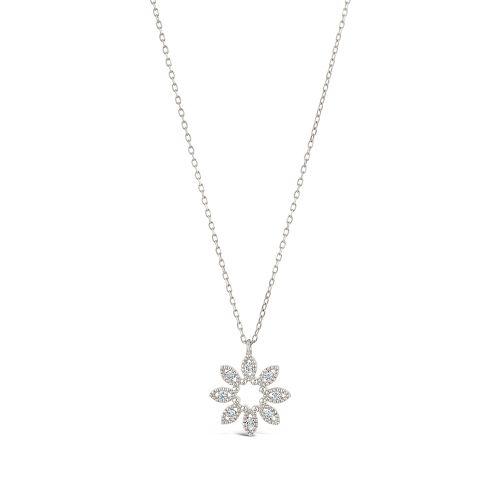 14k Diamond Jasmine Flower Pendant