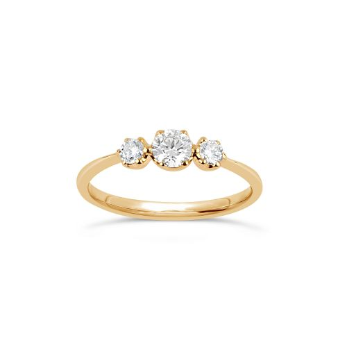 Elyhara 18K Gold Small Diamond Trilogy Ring