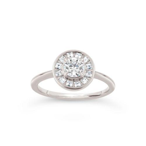 Ava 18k Gold Brilliant and Carre Cut Diamond Ring
