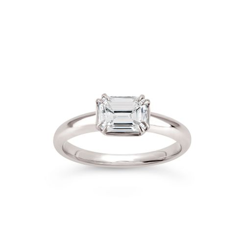 Jessie 18K Emerald Cut Diamond Solitaire Ring