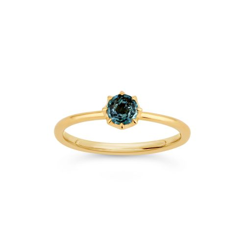 Ellie 18k Gold Solitaire Fine Teal Sapphire Ring