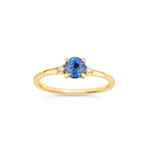 Kassia 18k Gold Fine Sapphire and Brilliant Cut Diamond Ring