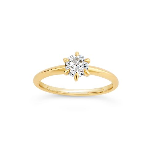 Miss Lily 18k Gold Diamond Solitaire Ring