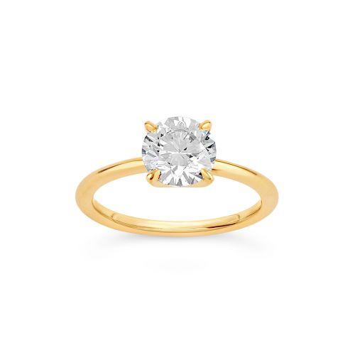 Lizzy 18k Gold Brilliant Cut Diamond Solitaire Ring