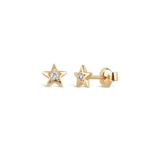 Bijou Solid 14k Gold Star Diamond Studs