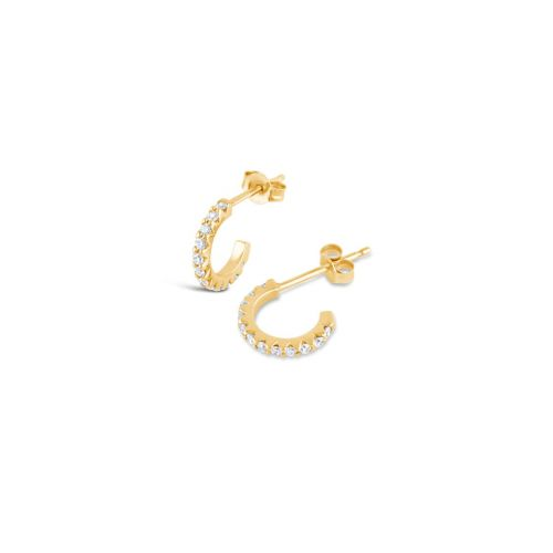 Solid 14k Gold Mini Micro Set Diamond Hoop Earrings