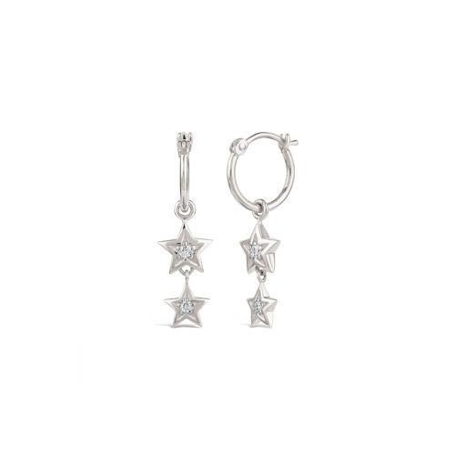 Bijou Solid 14k Gold Star Diamond Hoop Earrings